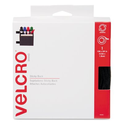 VELCRO USA Inc Sticky-Back Hook and Loop Fastener Tape With Dispenser, 3/4 X 15 Ft. Roll