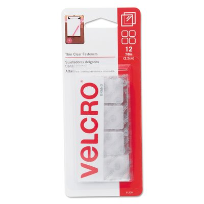 "VELCRO USA Inc Sticky-Back hook & loop fastener squares, 1 1/4"", clear"