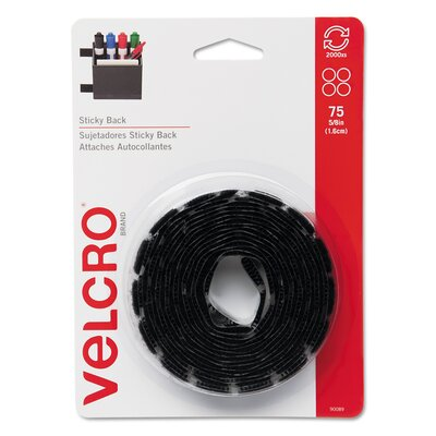 """VELCRO USA Inc Sticky-Back Hook and Loop Dot Fasteners With Dispenser, 5/8"""", 75/Roll"""