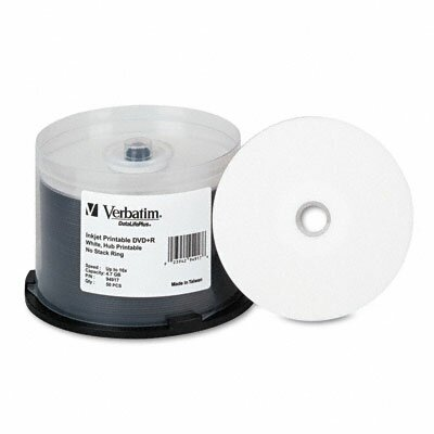 Verbatim Corporation Inkjet Printable Spindle Dvd+R Discs, 4.7Gb, 16X, 50/Pack