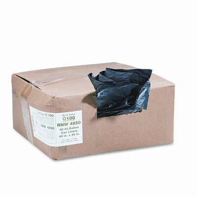 Webster Industries ReClaim Can Liners, 40-45 gallon, 1.25mil, 40 x 46, Black, 100/carton