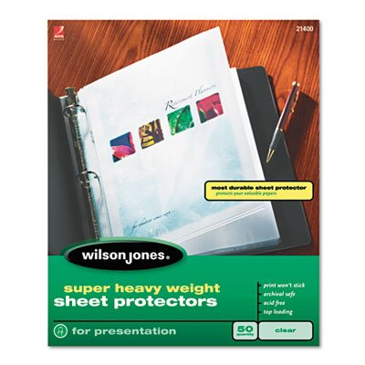 Wilson Jones Wilson Jones Super Heavy Weight Sheet Protector, 50/Box