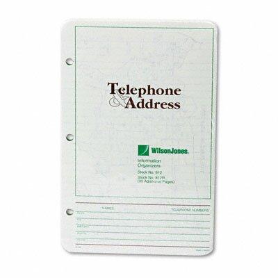 Wilson Jones Looseleaf Phone/Address Book Refill, 5-1/2 x 8-1/2, 80 Sheets, 2012