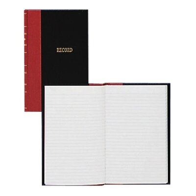 "Wilson Jones Account Book, Record-Ruled, 144 Pages, 7-7/8""x5-1/4"", Black/Red"