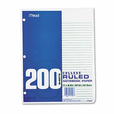 Mead Economical 16-Lb. Filler Paper, College Ruled, 11 X 8-1/2, 200 Sheets/Pack