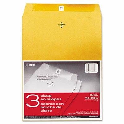 Mead Clasp Envelope, 10 x 13, 24lb, Kraft, 3/Pack