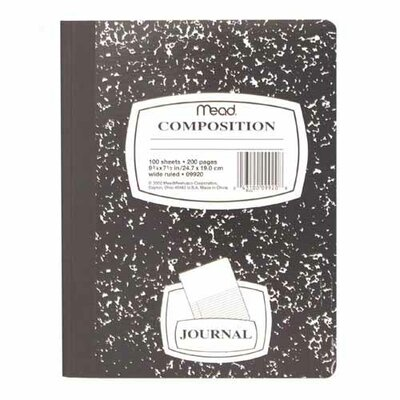 "Mead Composition Book, Special Ruled, 9-3/4""x7-1/2"", Black Marble"