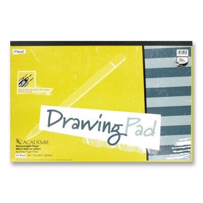 """Mead Drawing Pad, Heavy Weight, 12""""x18"""", 24 Sheets White"""