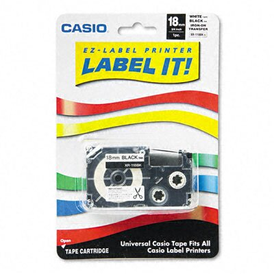 Casio® Label Printer Iron-On Transfer Tape, 18mm, Black on White