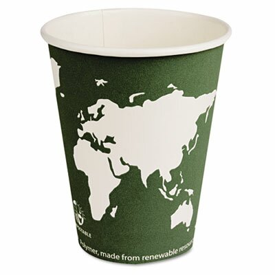 Eco-Products World Art Renewable Resource Compostable Hot Cups, 12 Oz, 1000/Carton