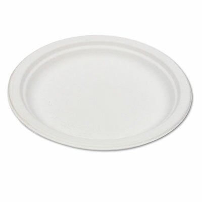 "Eco-Products Compostable Sugarcane Dinnerware, 9"" Plate, Natural White, 50/Pack"