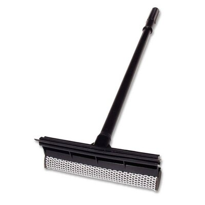 """Unger Plastic Squeegee/Scrubber, 24"""" L, Wood Handle, Black"""