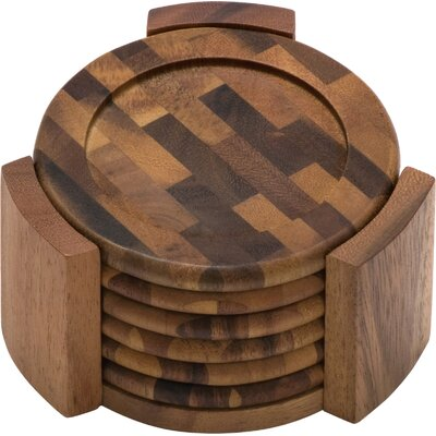 Acacia End Grain 7 Piece Coaster Set by Lipper International