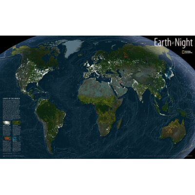Earth at Night Map by National Geographic Maps