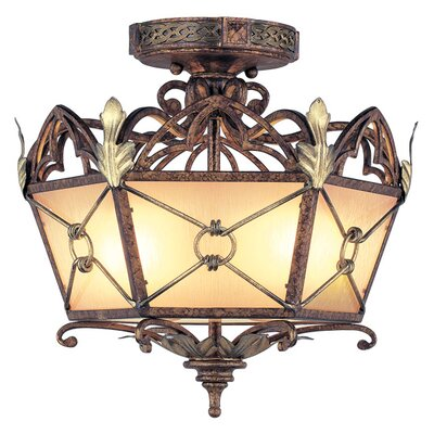 Livex Lighting Bristol Manor  Flush Mount in Palacial Bronze with Gilded Accents
