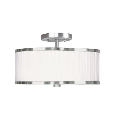 Park Ridge Flush Mount with White Pleated Shade in Brushed Nickel Product Photo