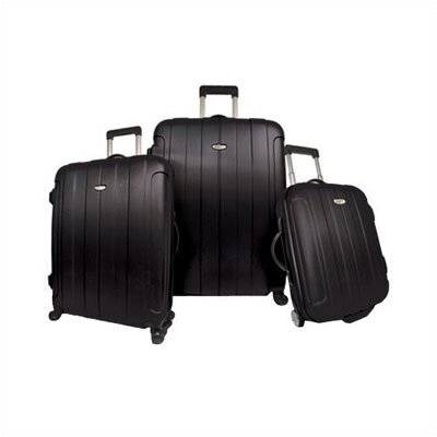 Rome 3 Piece Hard-shell Spinning/Rolling Luggage Set in Black by Traveler's Choice