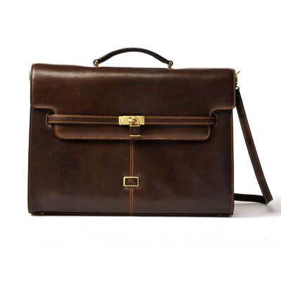 Italico The Roman Modern Double Gusset Leather Laptop Briefcase by Tony Perotti