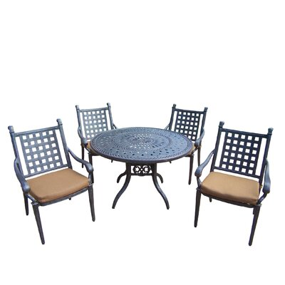 Oakland Living Belmont 5 Piece Round Dining Set with Cushions