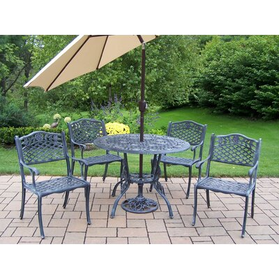 Oakland Living Tea Rose 6 Piece Dining set with Cushions and Umbrella
