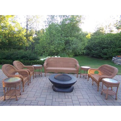 Oakland Living Resin Wicker 9 Piece Fire Pit Seating Group Set