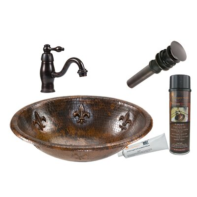 Fleur De Lis Oval Self Rimming Sink with Single Handle Faucet and Drain by Premier ...