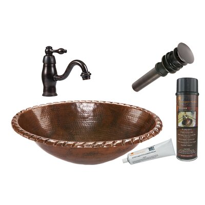 Oval Roped Rim Self Rimming Sink with Single Handle Faucet and Drain by Premier Copper ...