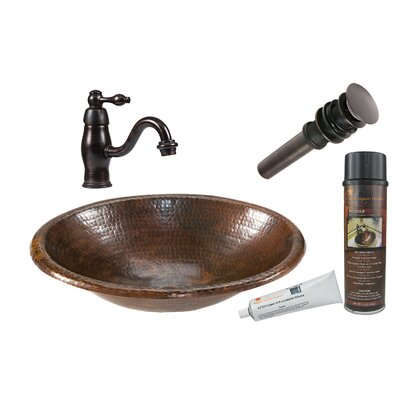 Small Oval Self Rimming Sink with Single Handle Faucet and Drain by Premier Copper Products ...