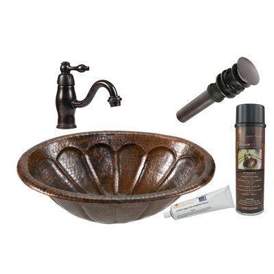 Sunburst Oval Self Rimming Sink with Single Handle Faucet and Drain by Premier Copper Products ...