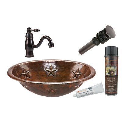 Star Oval Self Rimming Sink with Single Handle Faucet and Drain by Premier Copper Products ...
