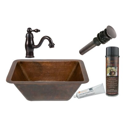 Rectangle Sink with Single Handle Faucet and Drain by Premier Copper Products