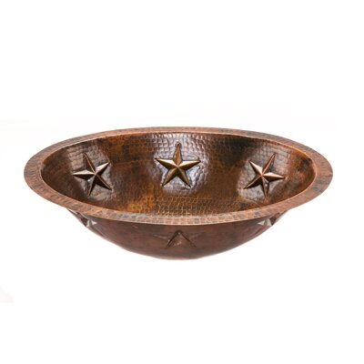 Oval Star Undermount Hammered Copper Bathroom Sink by Premier Copper Products