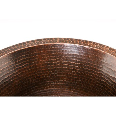 """Premier Copper Products 17"""" x 17"""" Large Round Hammered Bar Sink"""