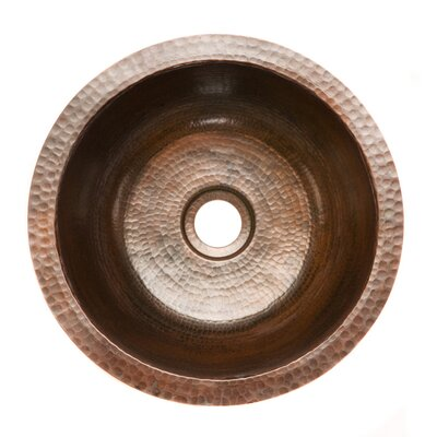 "14"" x 14"" Round Hammered Copper Bar Sink Product Photo"