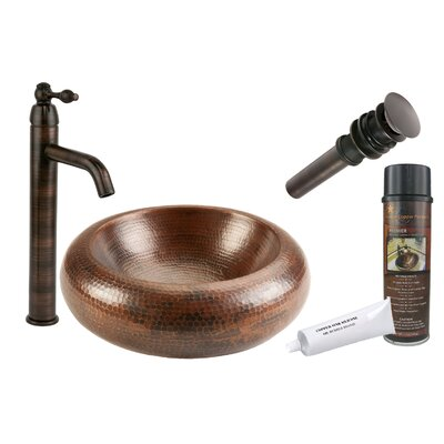 Premium Blooming Hammered Vessel Bathroom Sink by Premier Copper Products