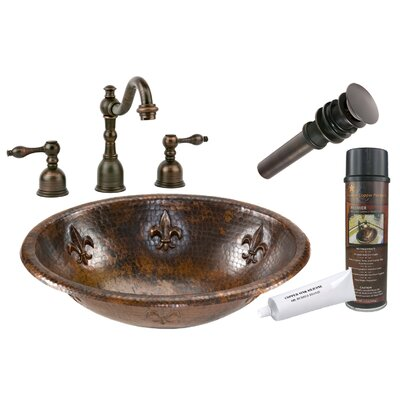 Fleur De Lis Self Rimming Hammered Sink by Premier Copper Products