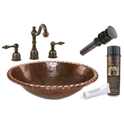 Roped Rim Self Rimming Hammered Bathroom Sink by Premier Copper Products