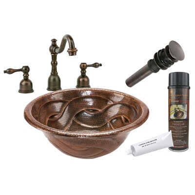 Braided Self Rimming Hammered Bathroom Sink by Premier Copper Products