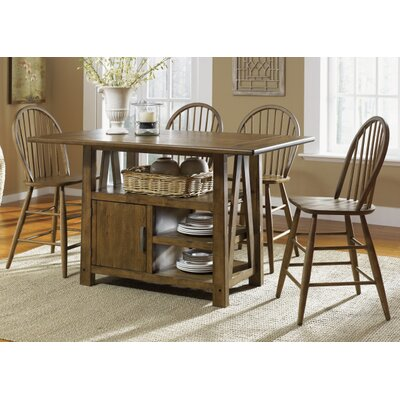 Farmhouse Casual Dining Centre Island Pub Table in Weathered Oak by Liberty Furniture