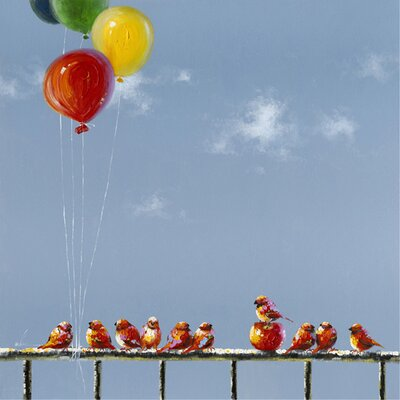 Revealed Artwork Birds and Balloons Original Painting on Wrapped Canvas by Yosemite Home Decor