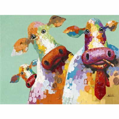 Revealed Artwork Curious Cows Original Painting on Wrapped Canvas by Yosemite Home Decor