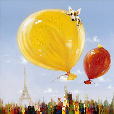 Revealed Artwork Balloons over Paris Original Painting on Wrapped Canvas by Yosemite Home Decor