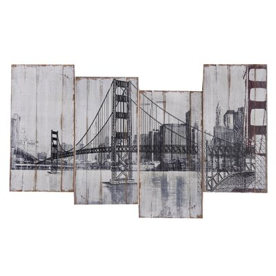 Revealed Art Golden Gate Bridge Original Painting on Wrapped Canvas by Yosemite Home Decor