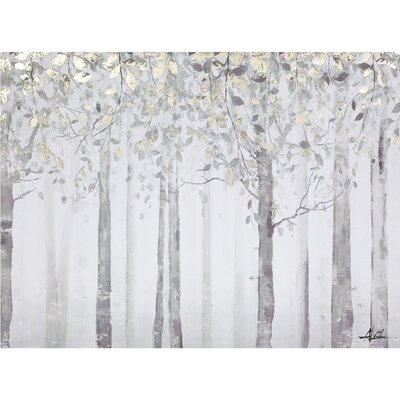 Grey and Yellow Trees Painting Print on Wrapped Canvas by Yosemite Home Decor