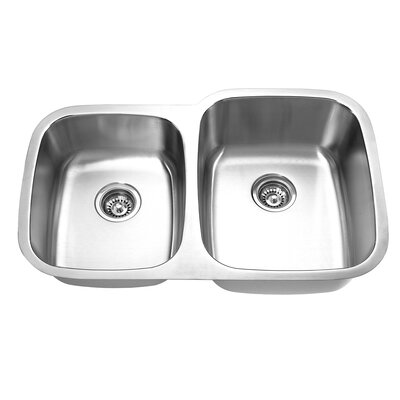 32 x 205 undermount double bowl kitchen sink product - Budget Kitchen Sinks