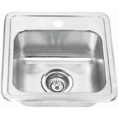 "15"" x 15"" Topmount Single Bowl Bar Sink Product Photo"