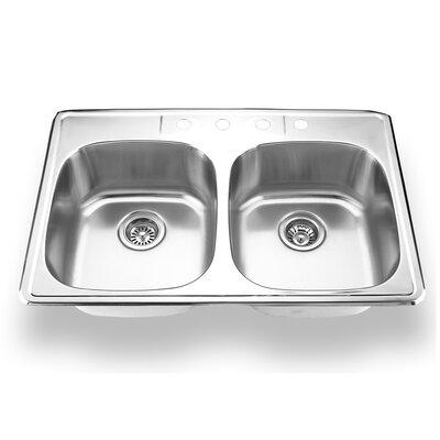 "33"" x 22"" Topmount Double Bowl Kitchen Sink Product Photo"