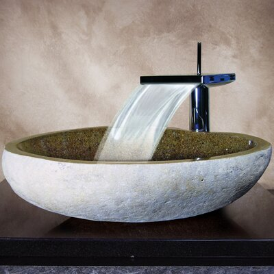 Hand Carved Boulder Vessel Bathroom Sink Product Photo