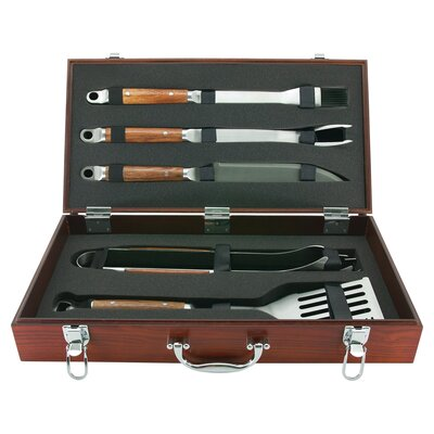 PD Forged 5 Piece Tool Set with Wood Carrying Case by Mr. Bar-B-Q