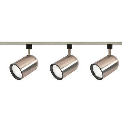 Three Light Bullet Cylinder Track Light Kit in Brushed Nickel Product Photo